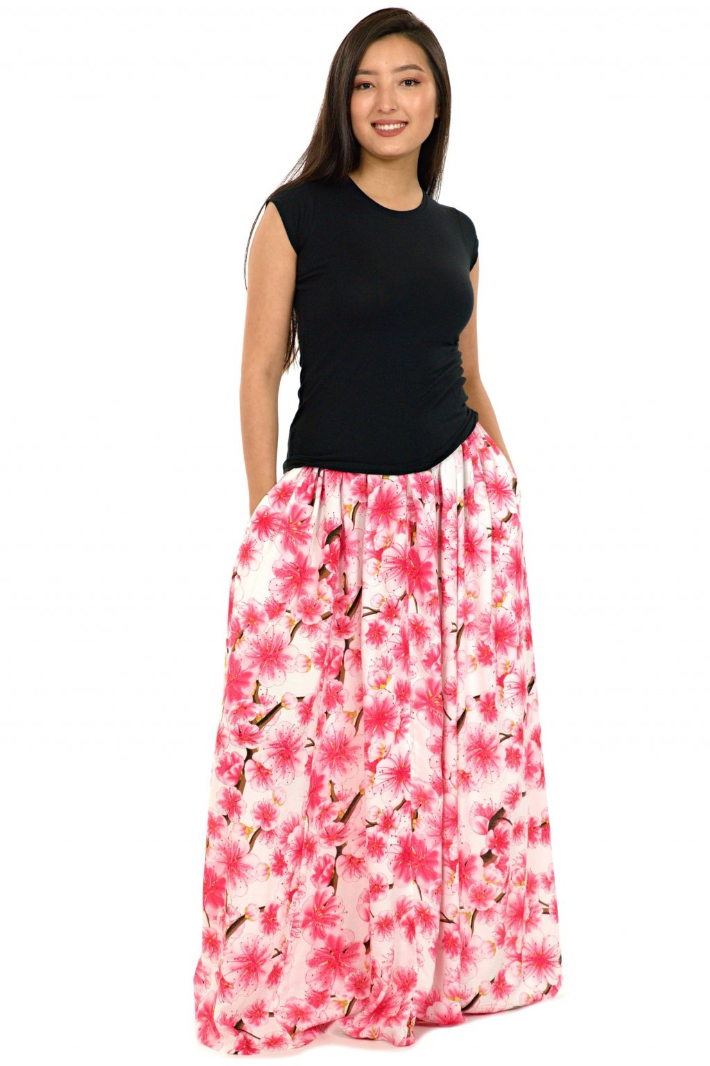 Maxi sukně Sakura s kapsami - bílá