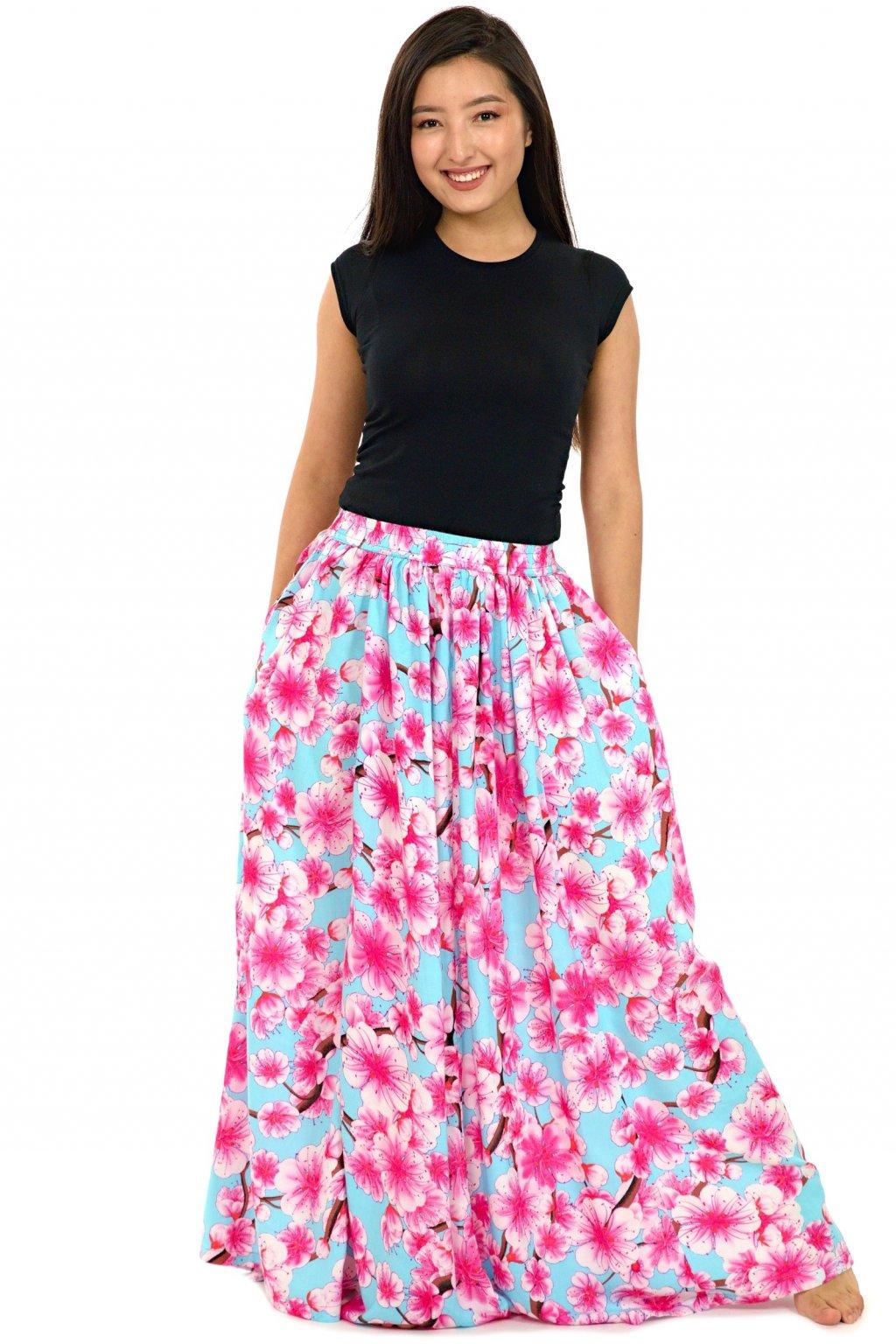 Maxi sukně Sakura s kapsami - tyrkysová