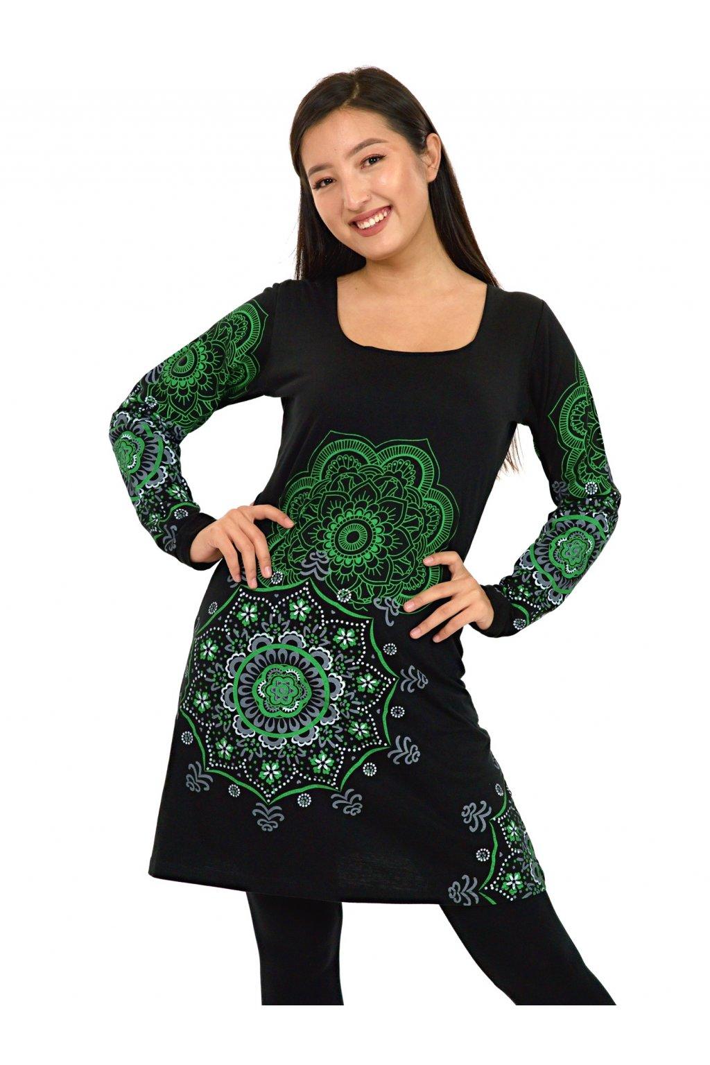 Tunika / šaty Noelani - černá se zelenou