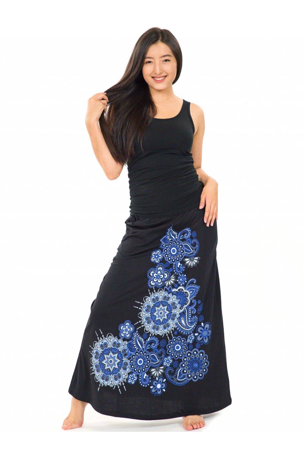 Dlouhá sukně Maima - černá s modrou
