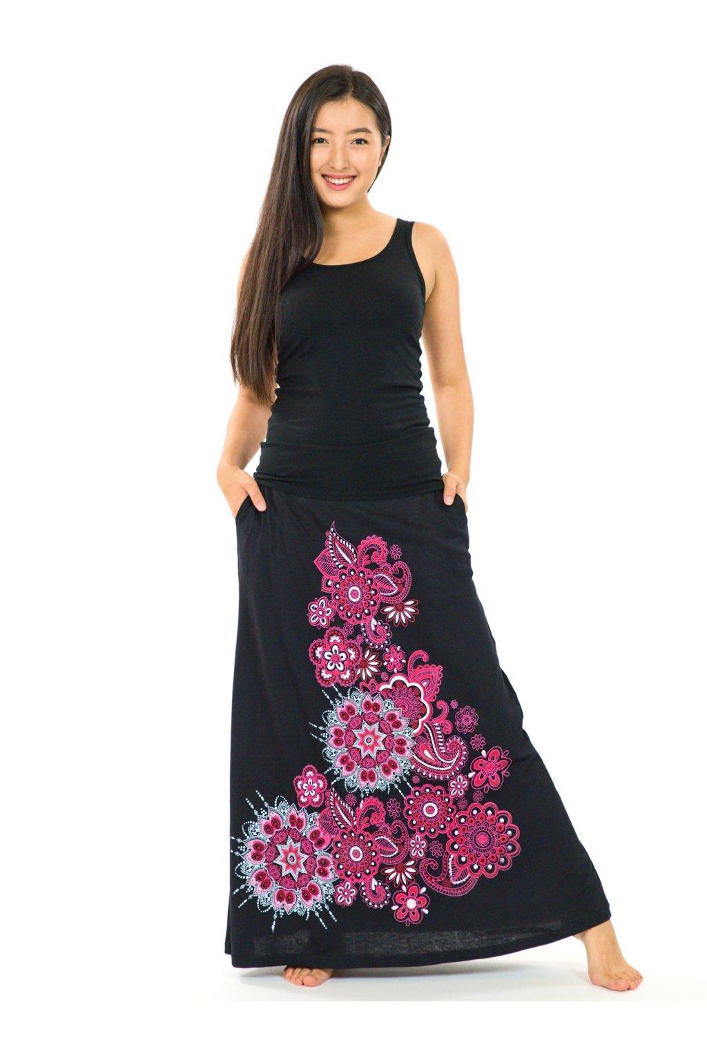 Dlouhá sukně Maima - černá s růžovou