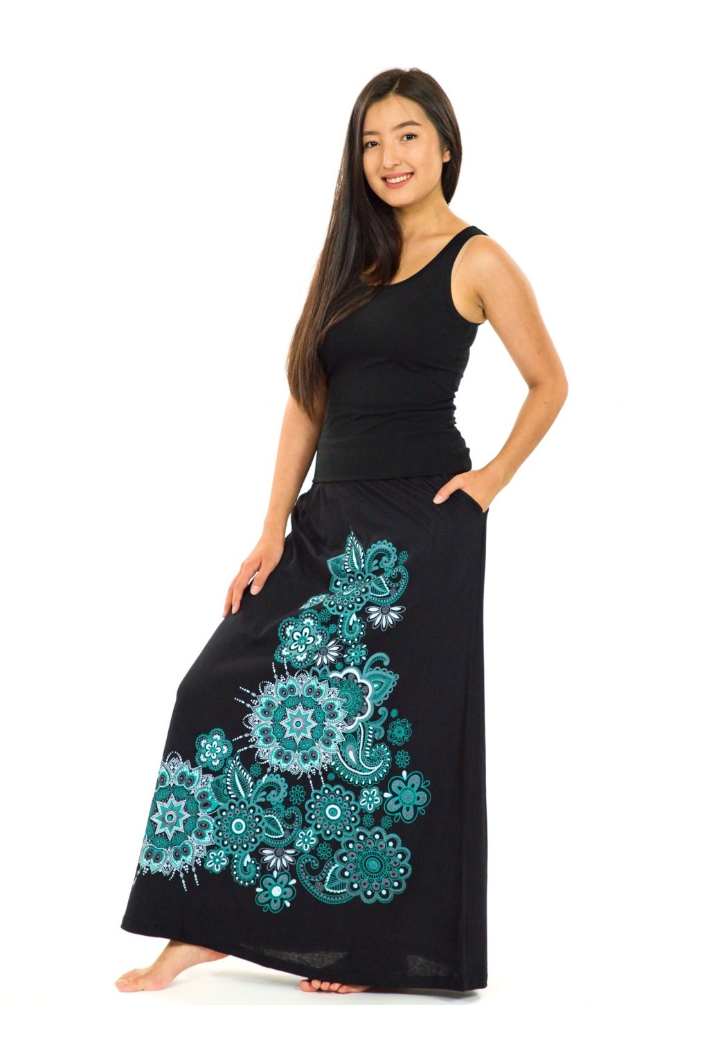 Dlouhá sukně Maima - černá s tyrkysovou