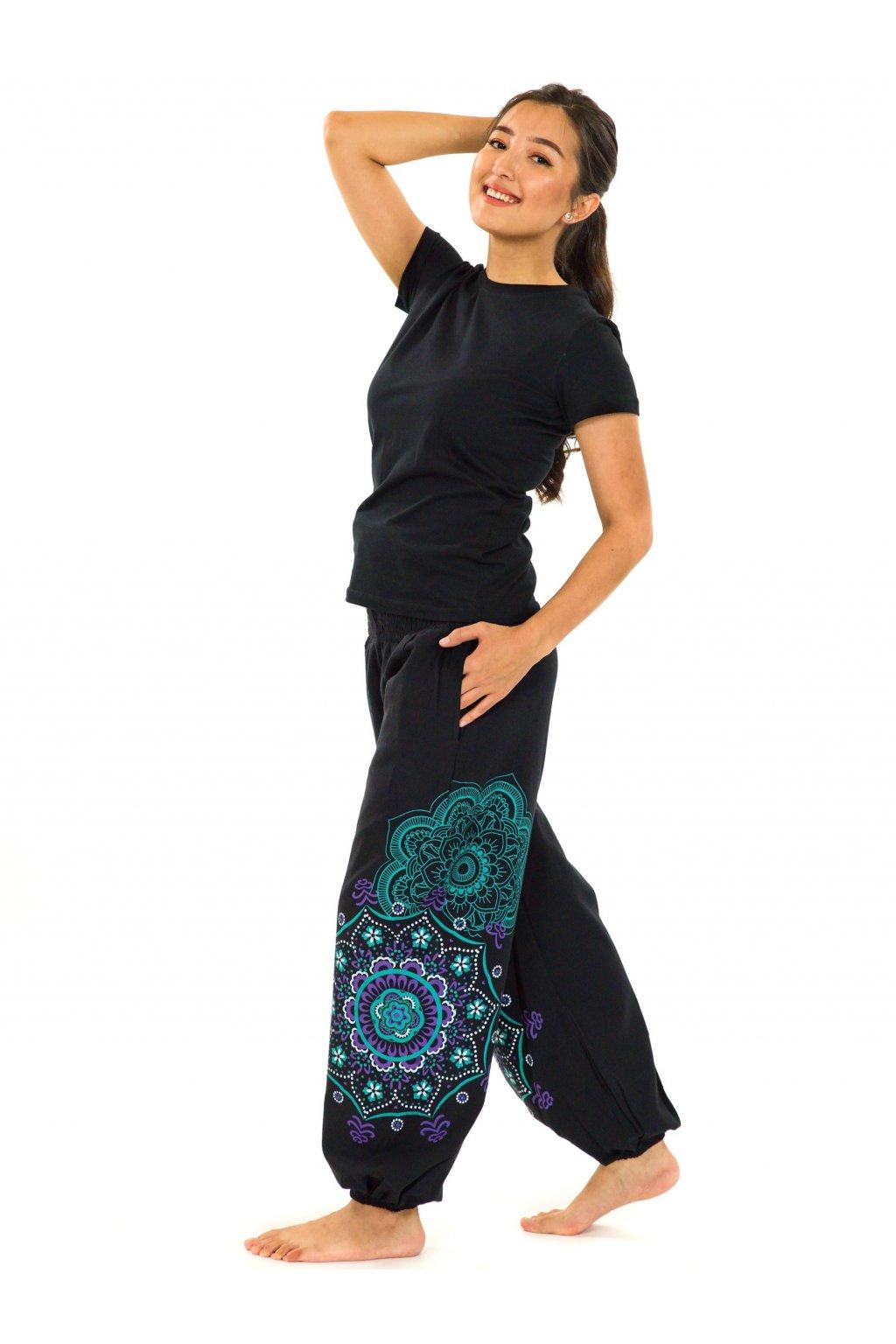 Kalhoty Makaha - fialová s tyrkysovou