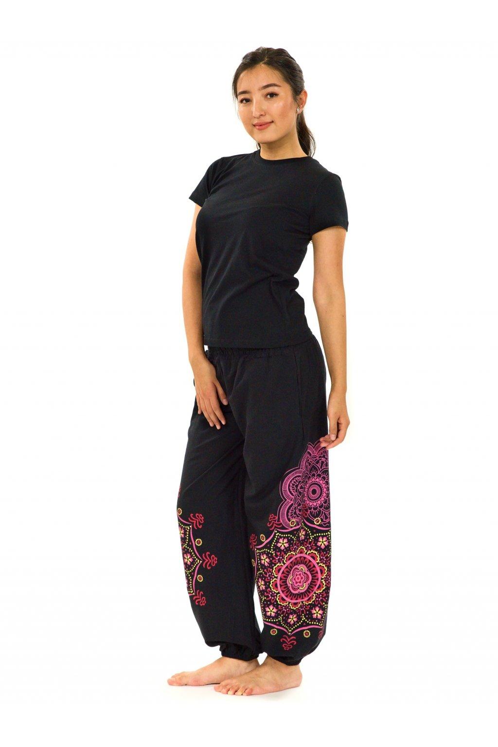 Kalhoty Makaha - černá s růžovou