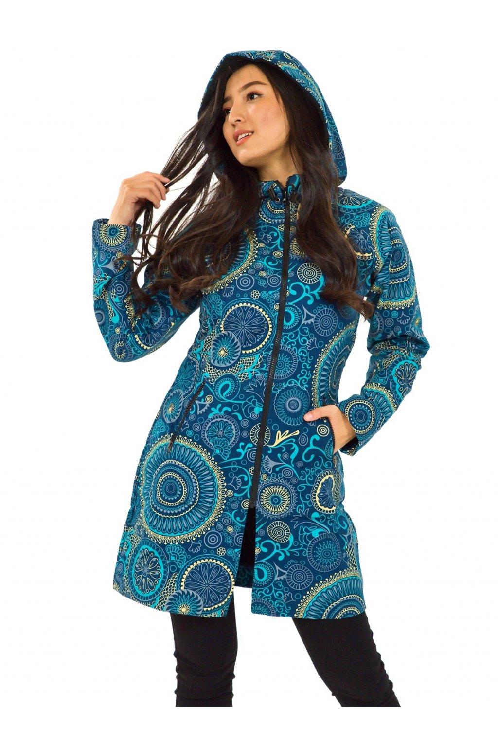Podzimní/zimní kabát Hiva - petrolejová s tyrkysovou