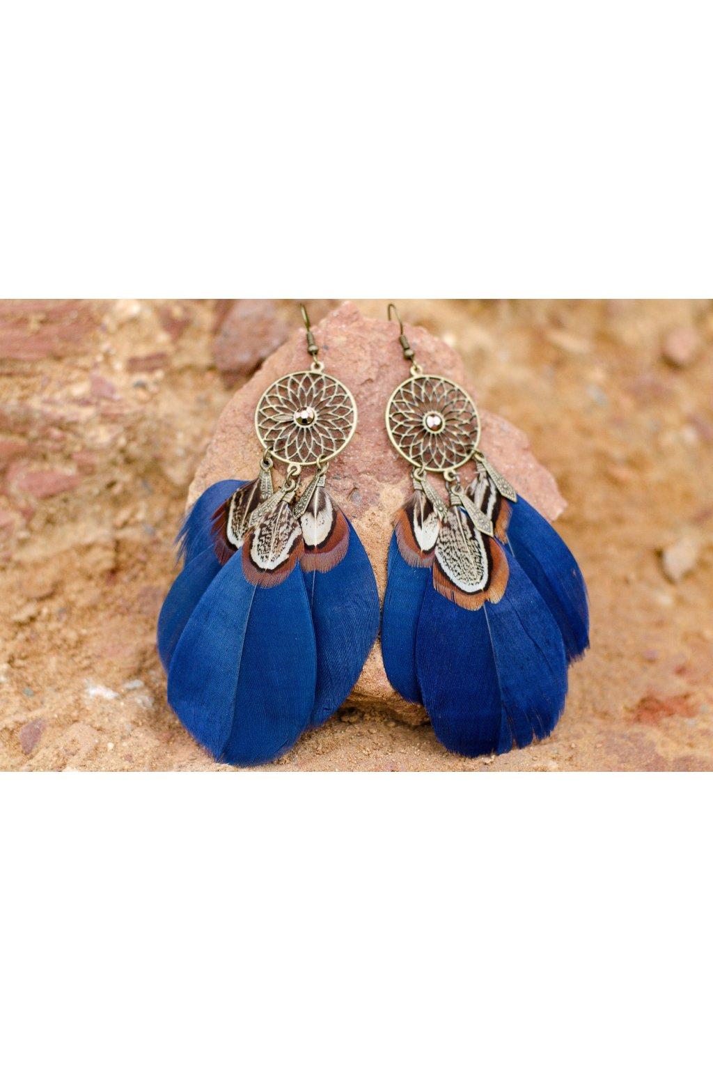 Náušnice Pírka Mandala - tmavě modrá