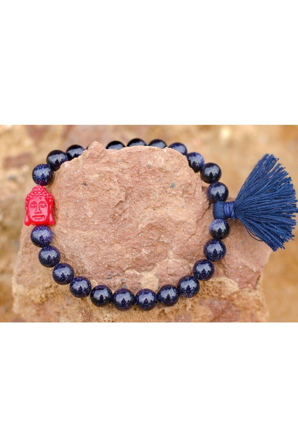 Energetický náramek Avanturín modrý se střapečkem a buddhou