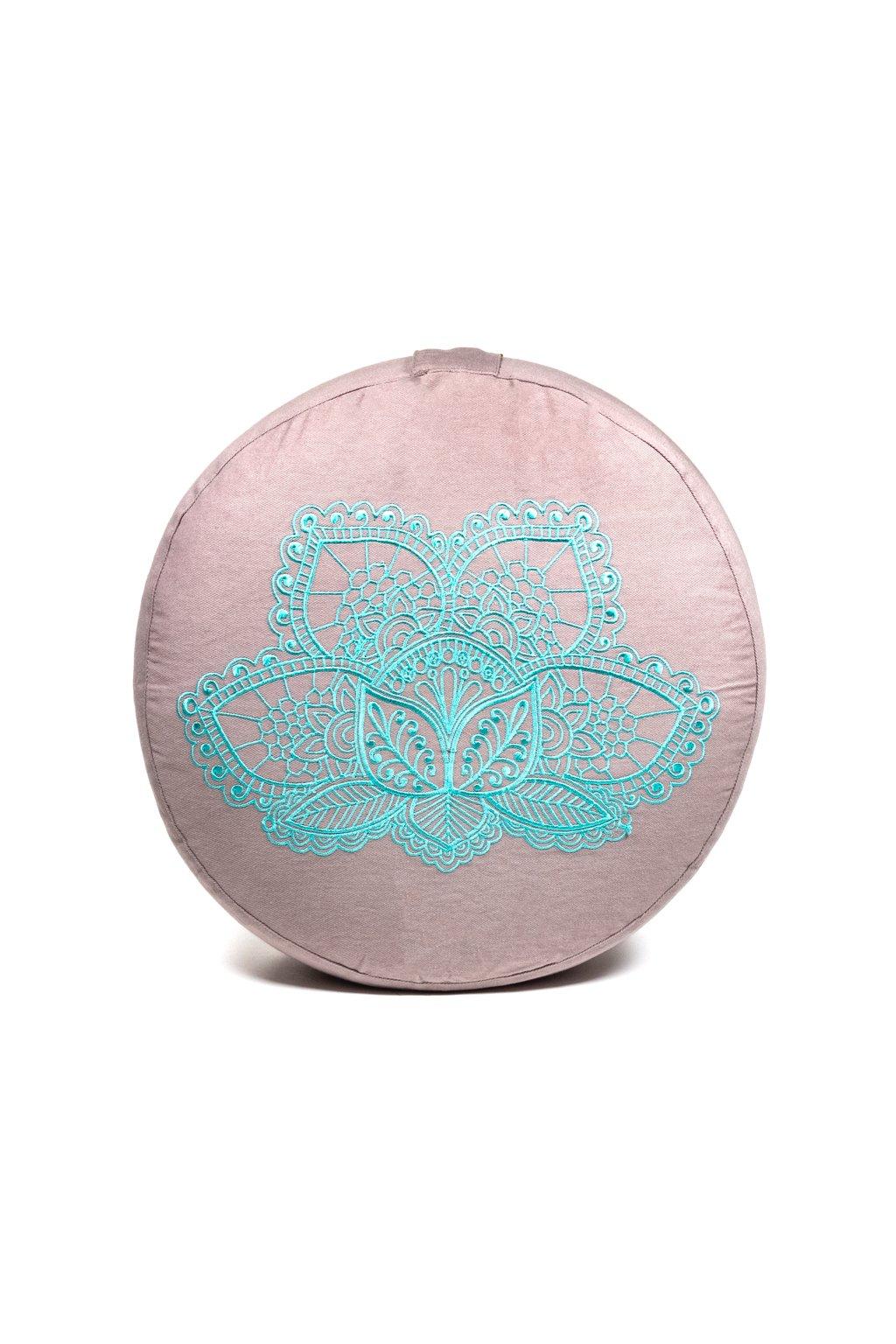 Meditační polštář vyšívaný Lotosový květ - šedý s tyrkysovou