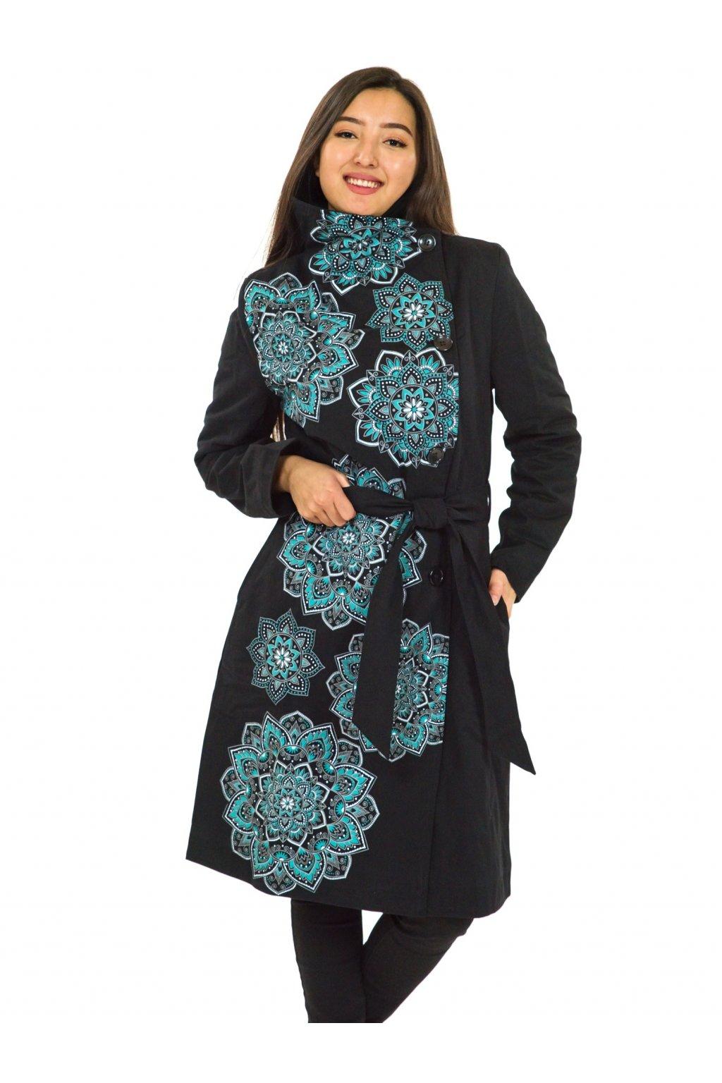Podzimní/zimní kabát Himalaya - černá s tyrkysovou