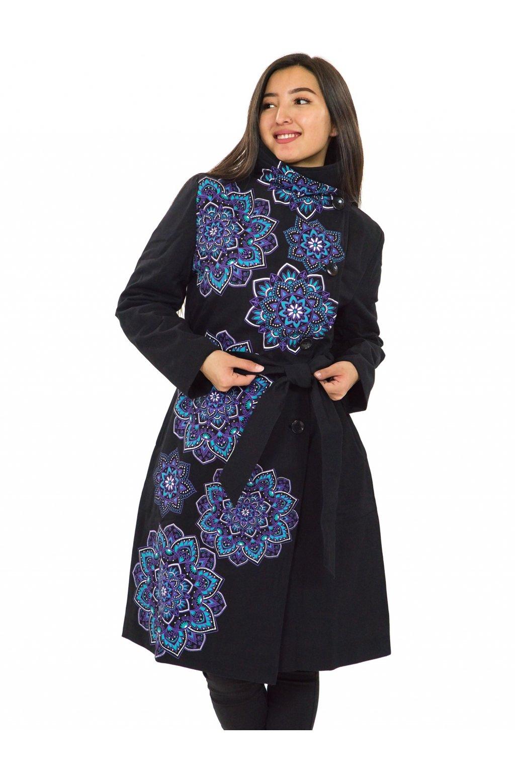 Podzimní/zimní kabát Himalaya - tyrkysová s fialovou