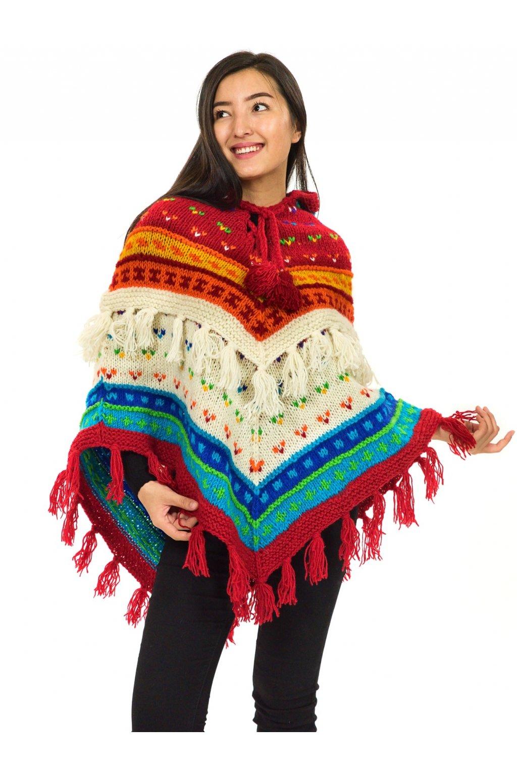 Pletené vlněné pončo Lalita 1