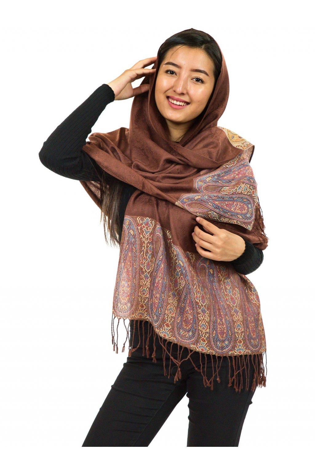 Šátek pašmína Nepal - hnědá