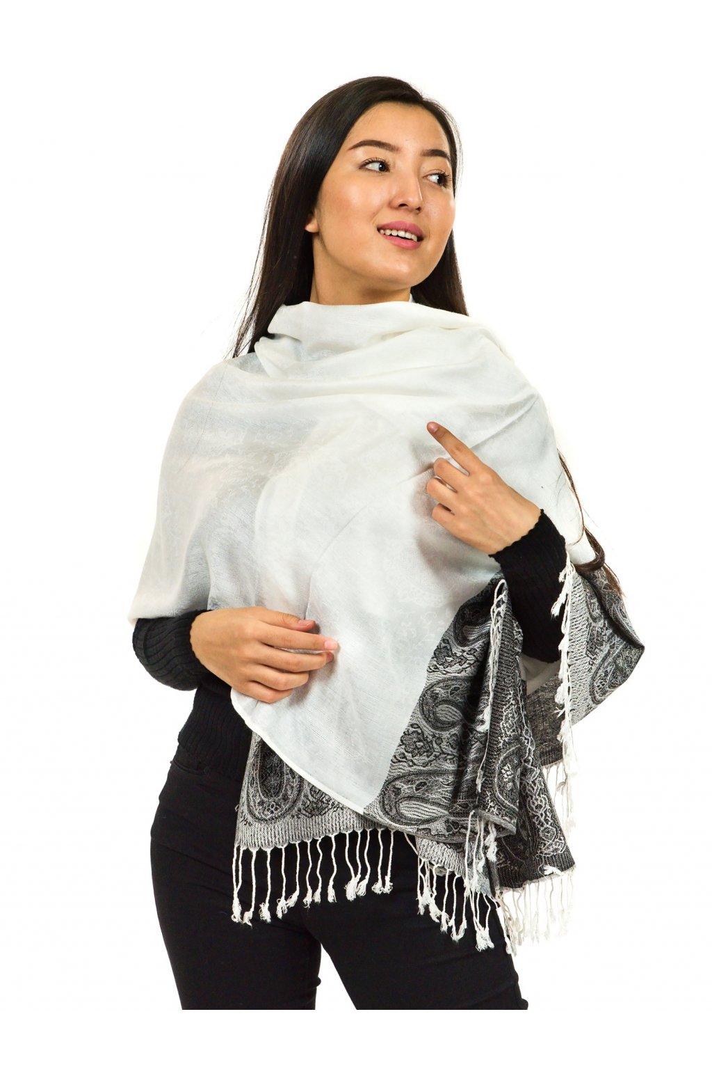 Šátek pašmína Nepal - bílá s černou