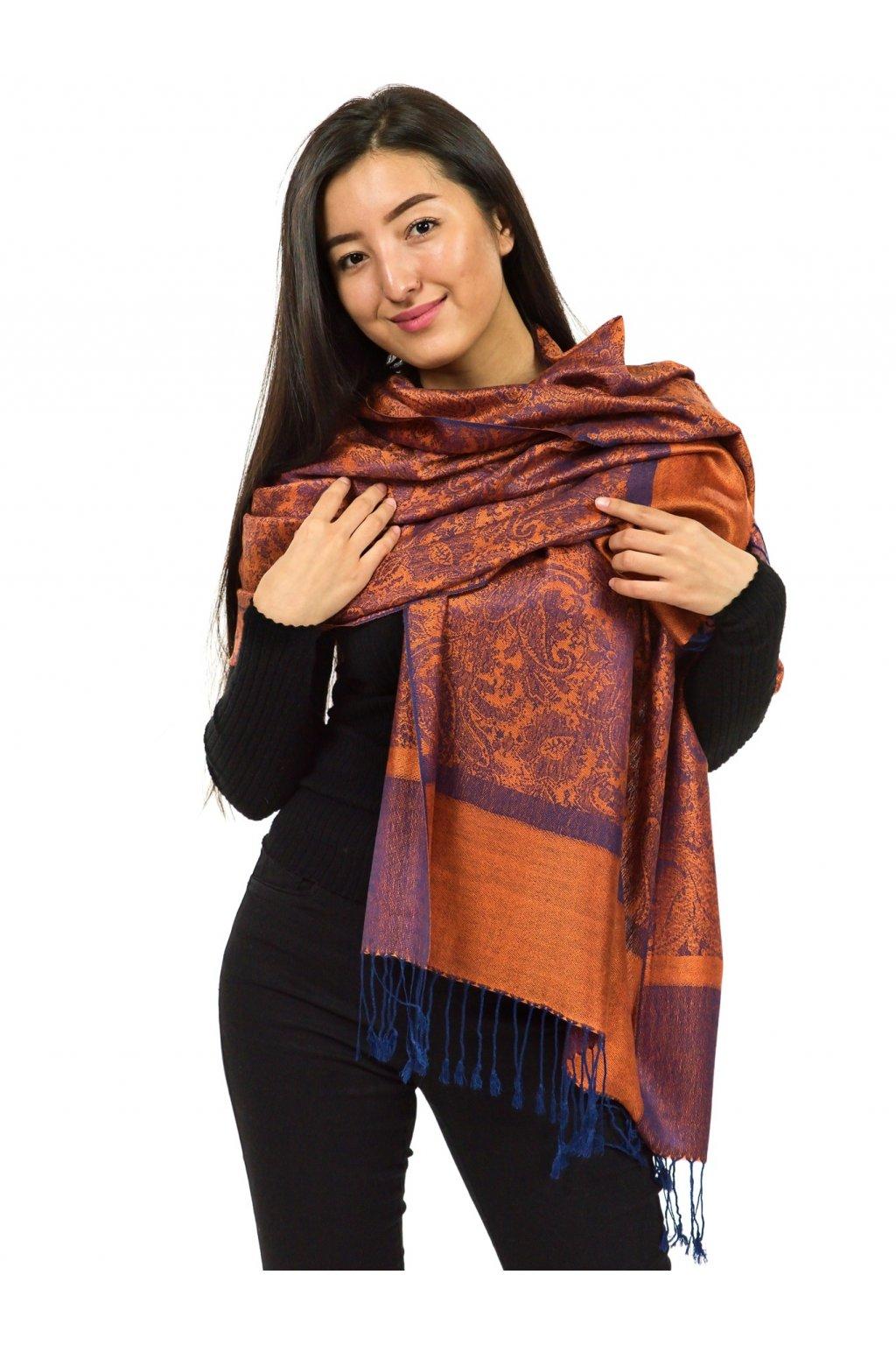 Šátek pašmína Nepal - oranžová s modrou