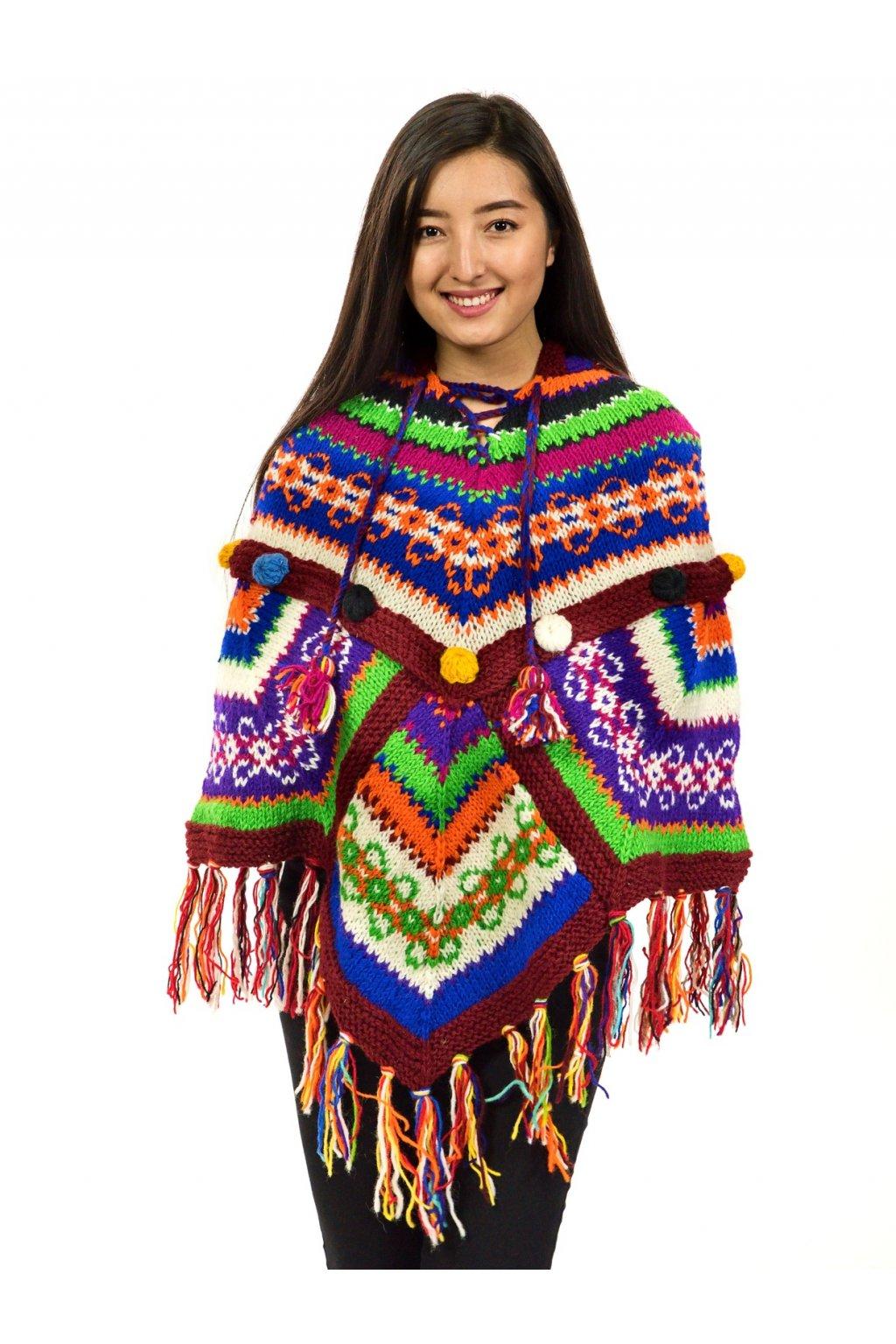 Pletené vlněné pončo Lalita 24