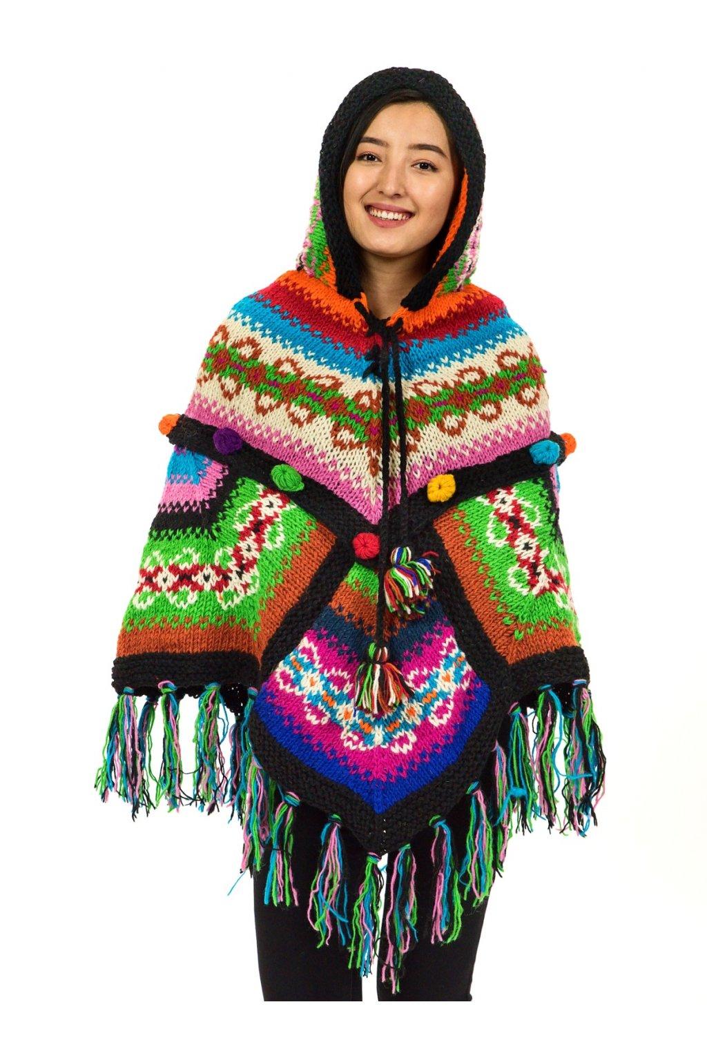 Pletené vlněné pončo Lalita 36
