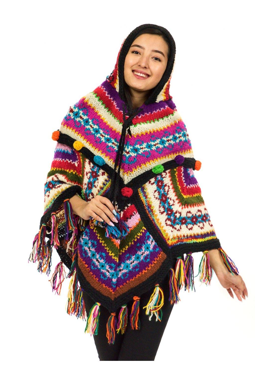 Pletené vlněné pončo Lalita 39