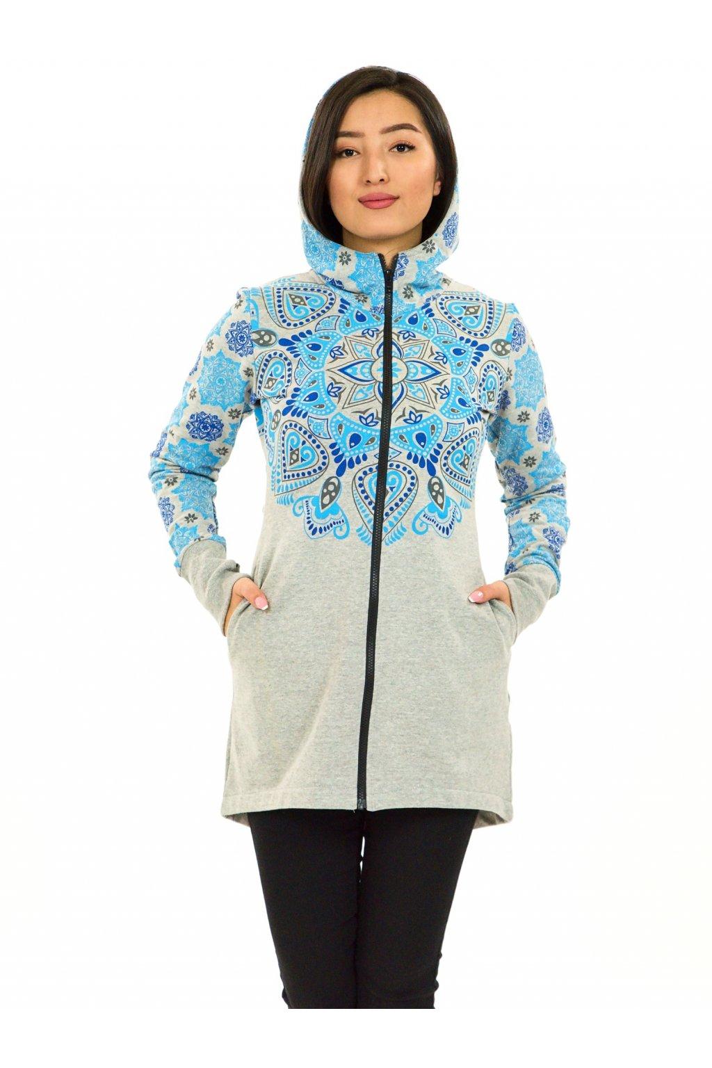Prodloužená mikina na zip s kapucí Kiana - šedá s tyrkysovou