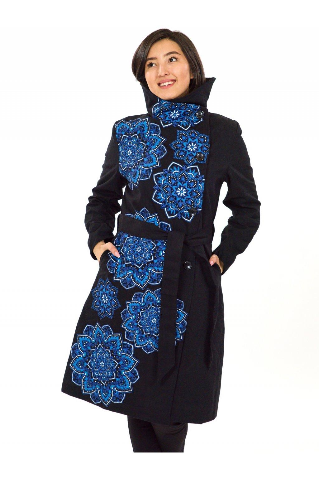 Podzimní/zimní kabát Himalaya - černá s modrou