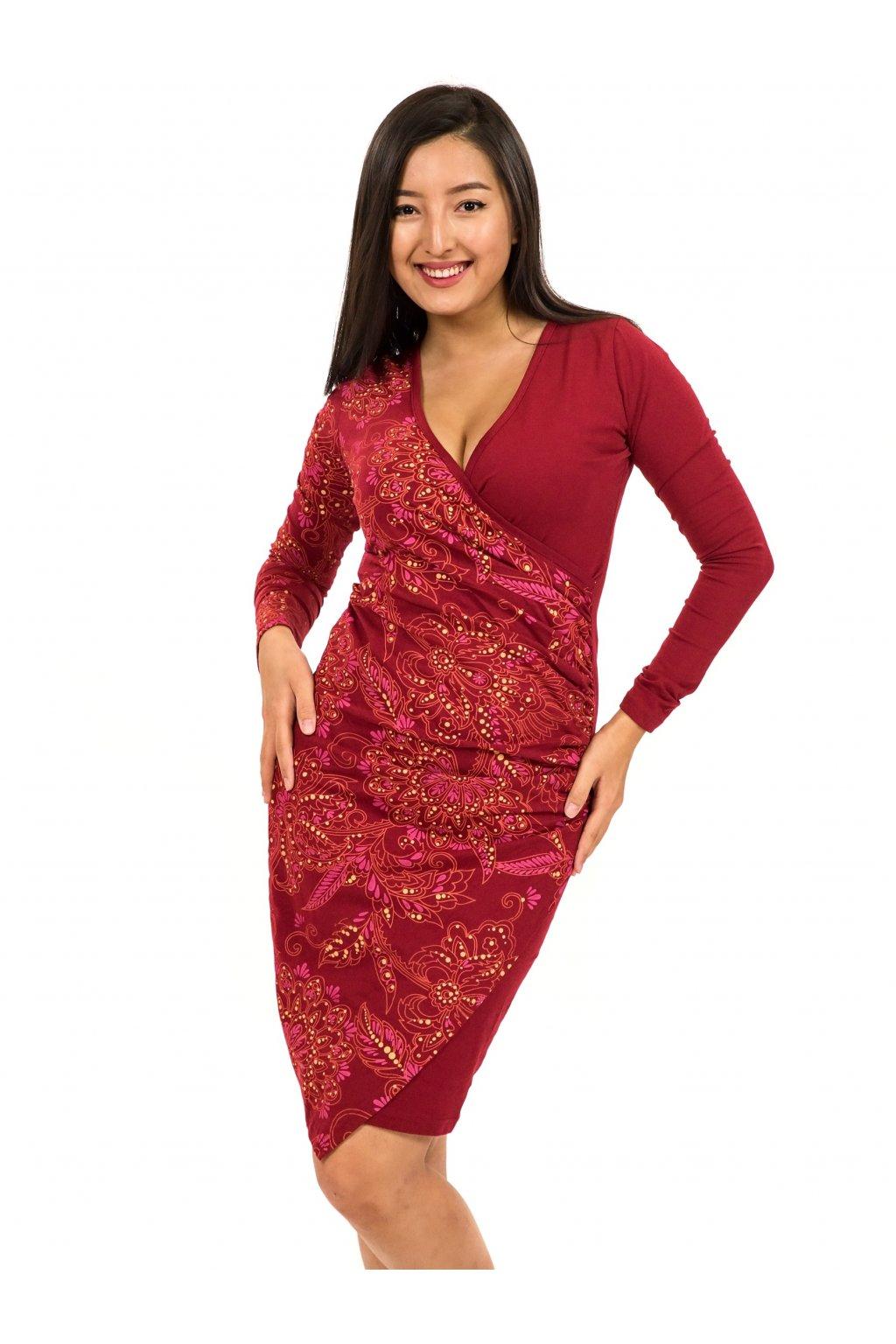 Zavinovací šaty Vanita - vínová