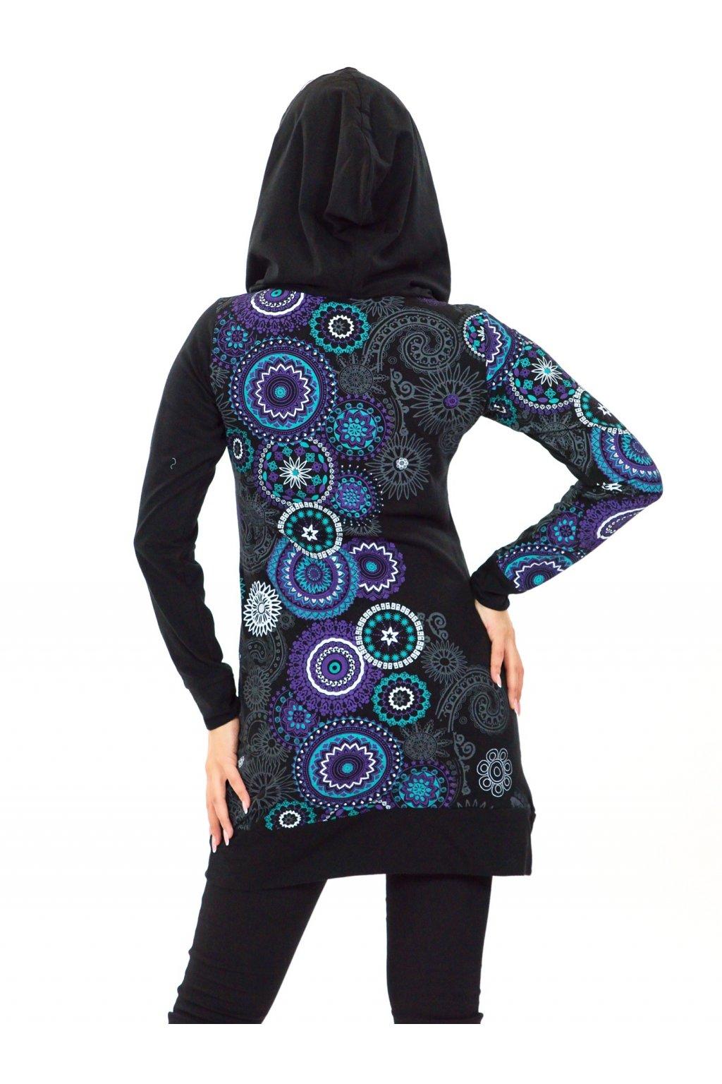 Mikinová tunika s maxi kapucí Elisha - černá s tyrkysovou a fialovou