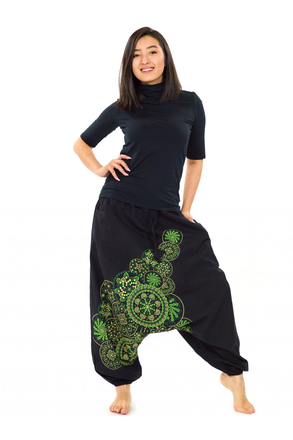 Harémové kalhoty Saura -černá se zelenou