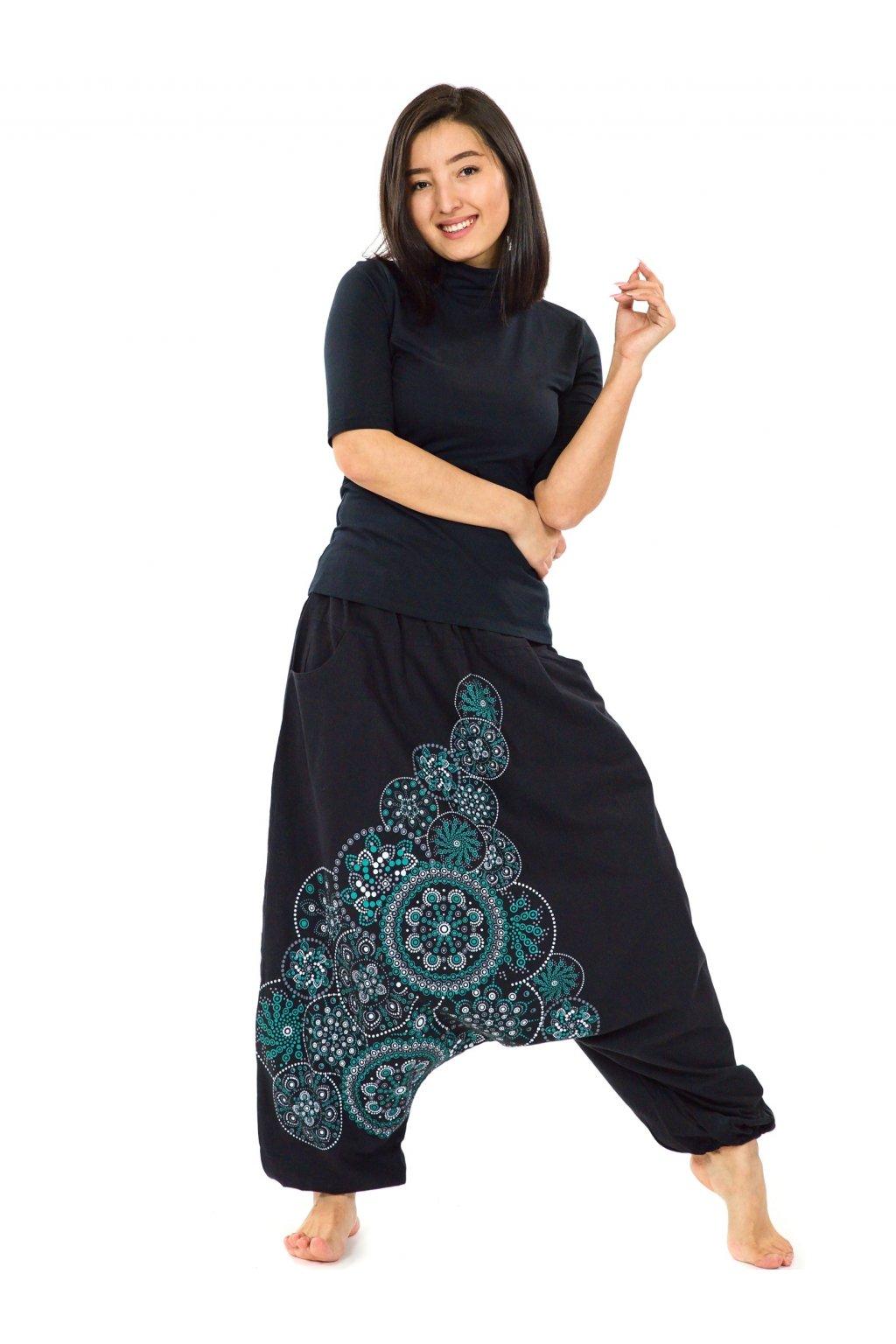 Harémové kalhoty Saura - černá s tyrkysovou