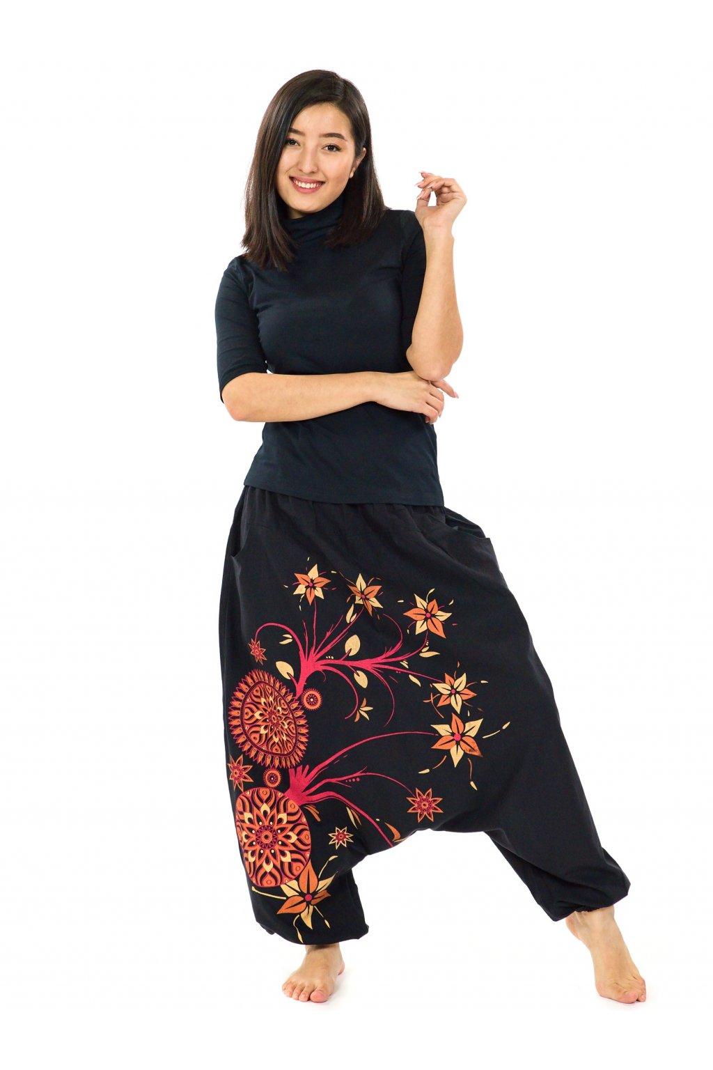 Harémové kalhoty Nalanie - černá s červenou a oranžovou