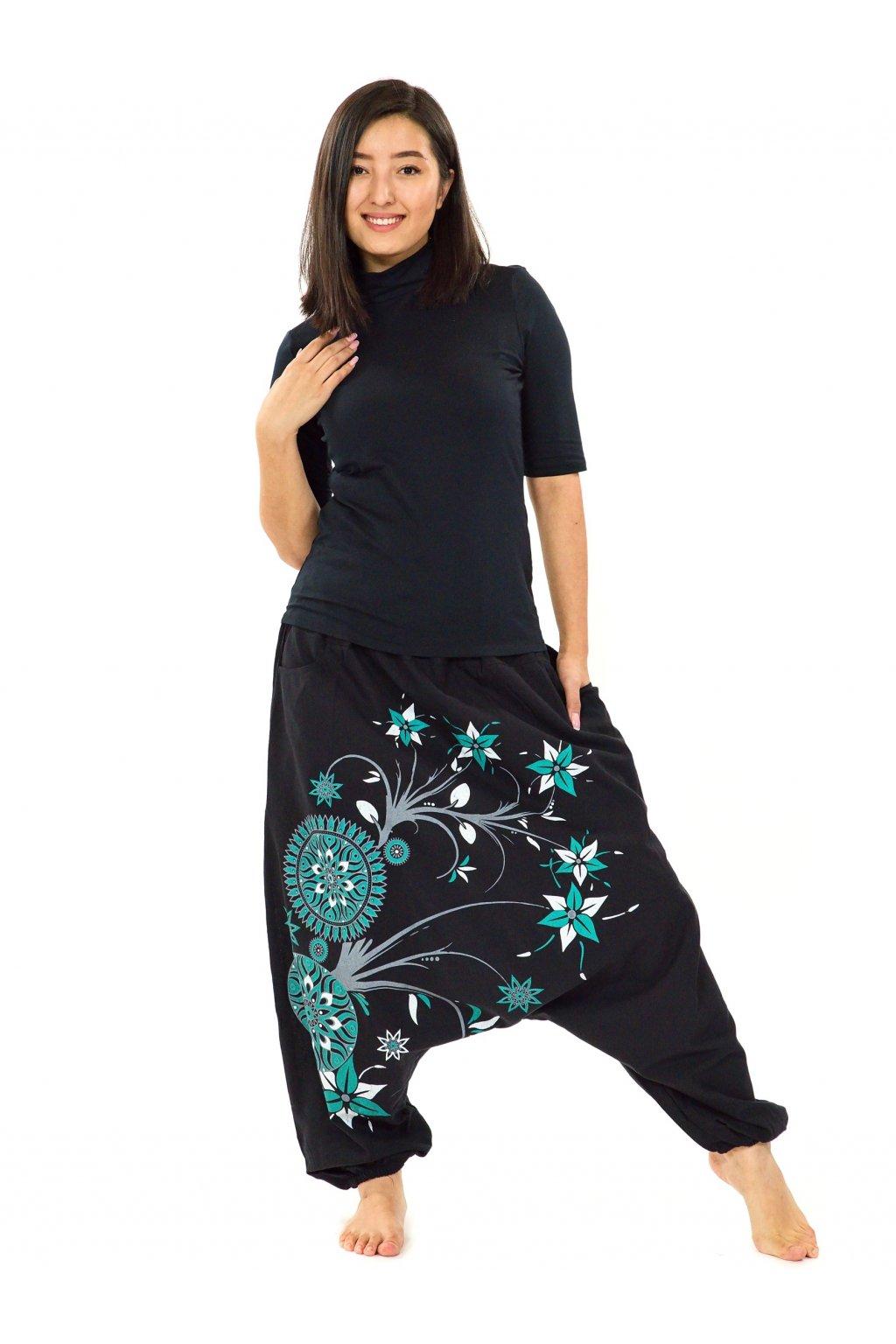 Harémové kalhoty Nalanie - černá s tyrkysovou