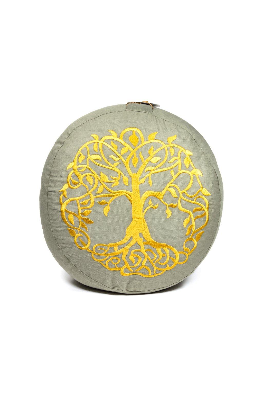 Meditační polštář vyšívaný Strom života - šedý se zlatou