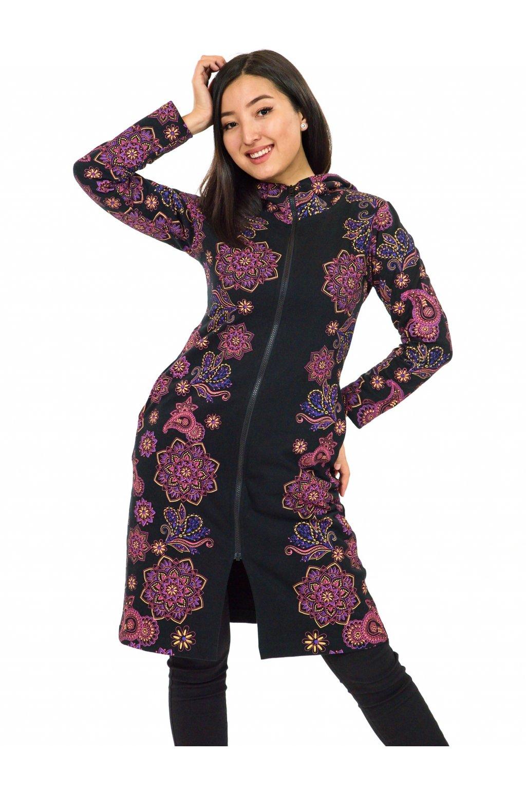 Prodloužená mikina na zip s kapucí Lei - černá s růžovou