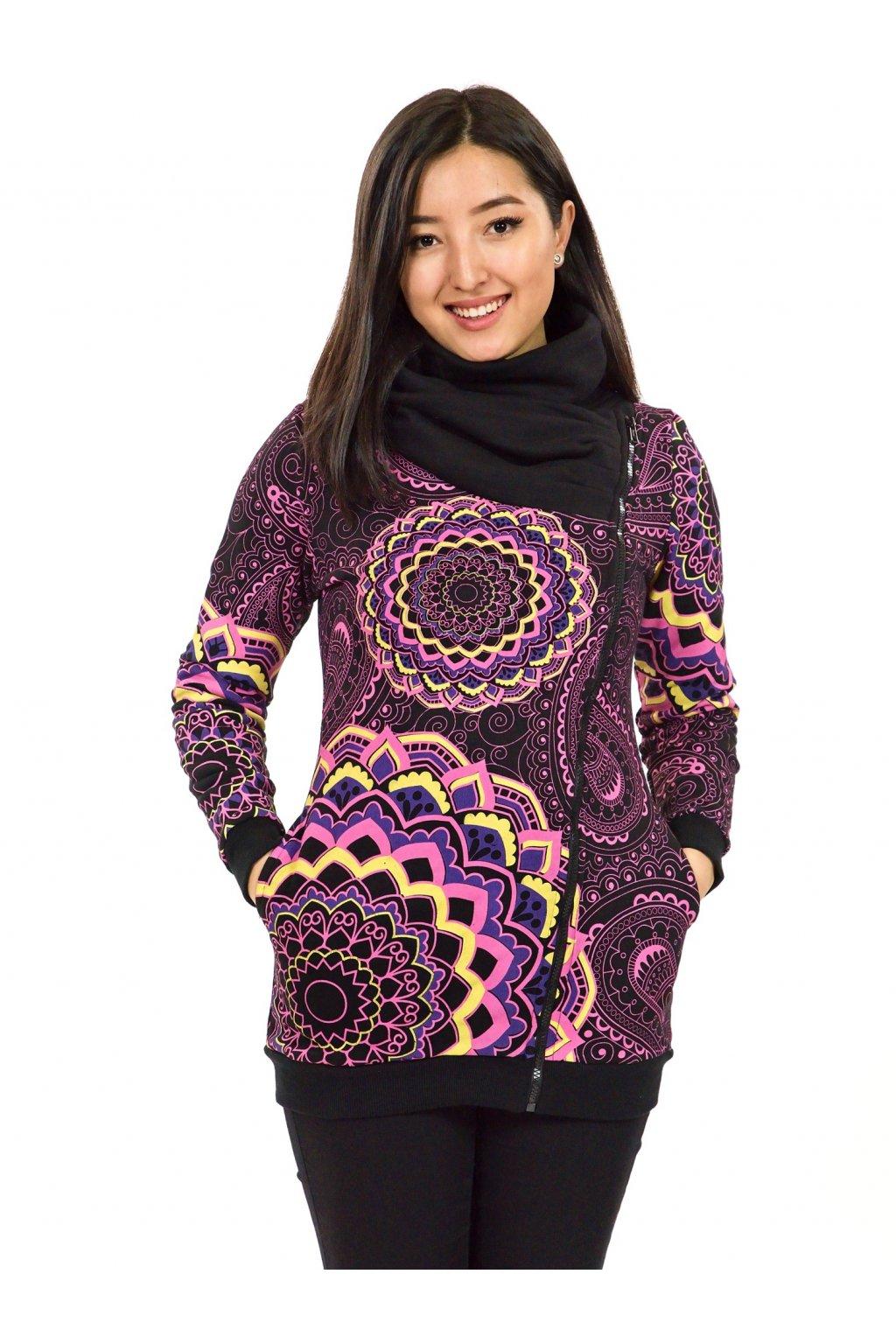 Hřejivá mikina na zip s maxi límcem Pahala - černá s růžovou
