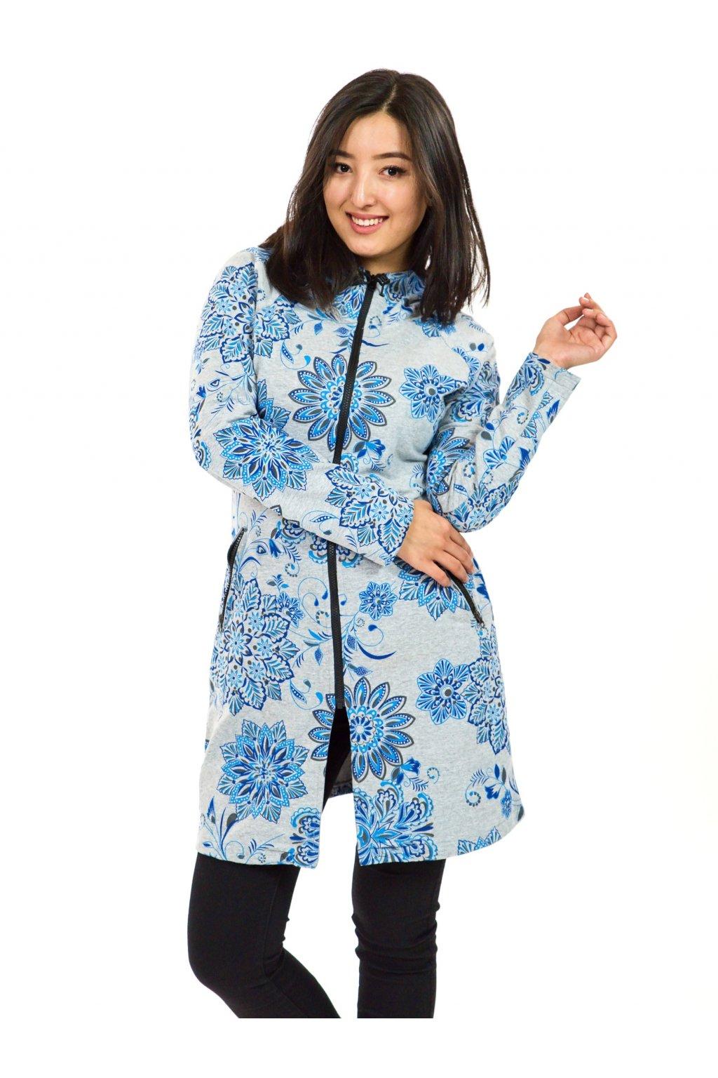 Prodloužená mikina na zip s kapucí Talia - šedá s modrou