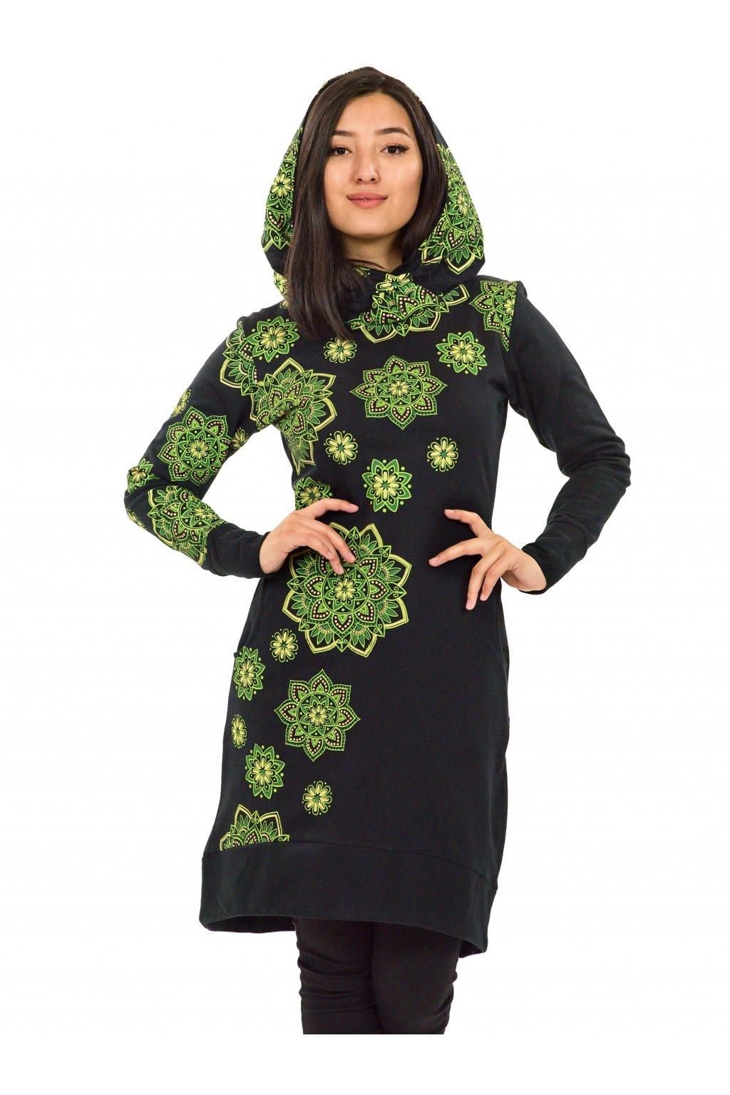 Šatomikina s maxi kapucí Pokhara - černá se zelenou