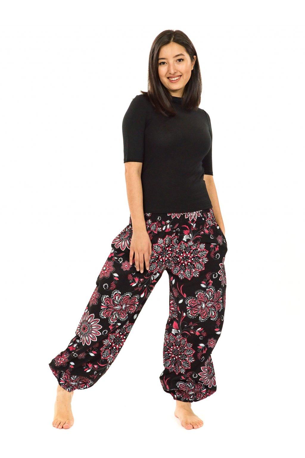 Kalhoty Rhea- černá s červenou