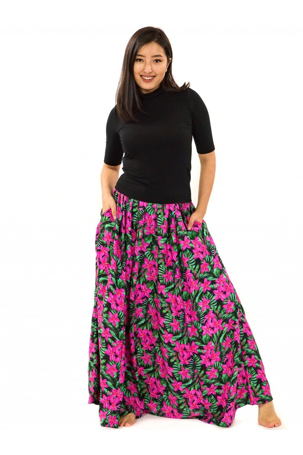 Maxi sukně Plumeria s kapsami - zelená s růžovou