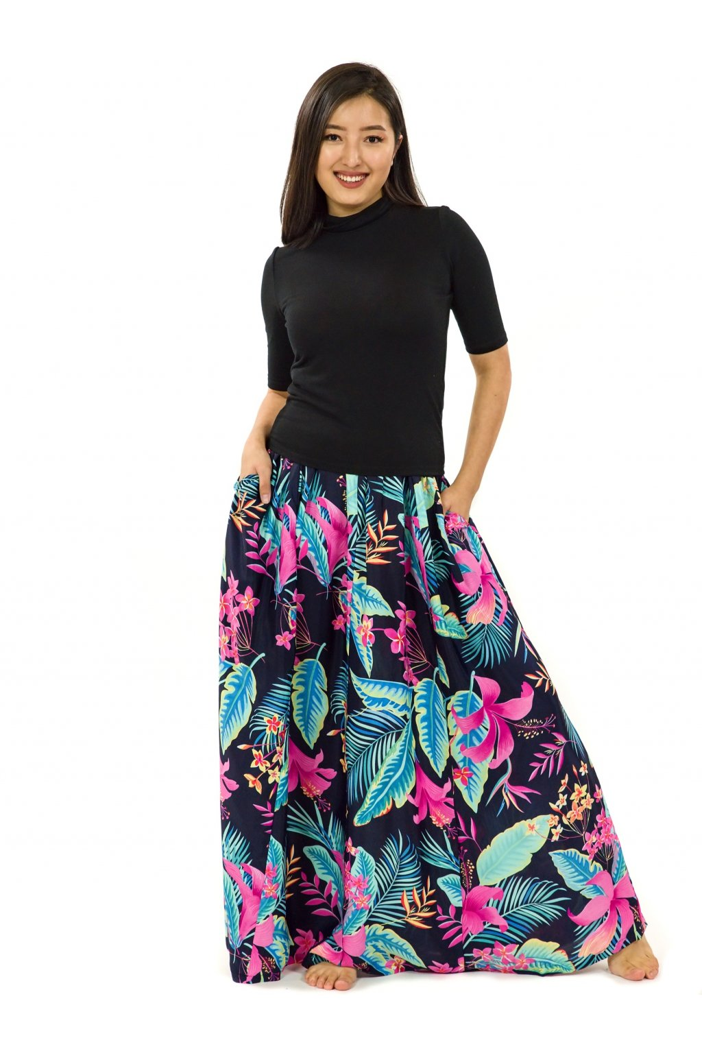 Maxi sukně Kihei s kapsami - černá