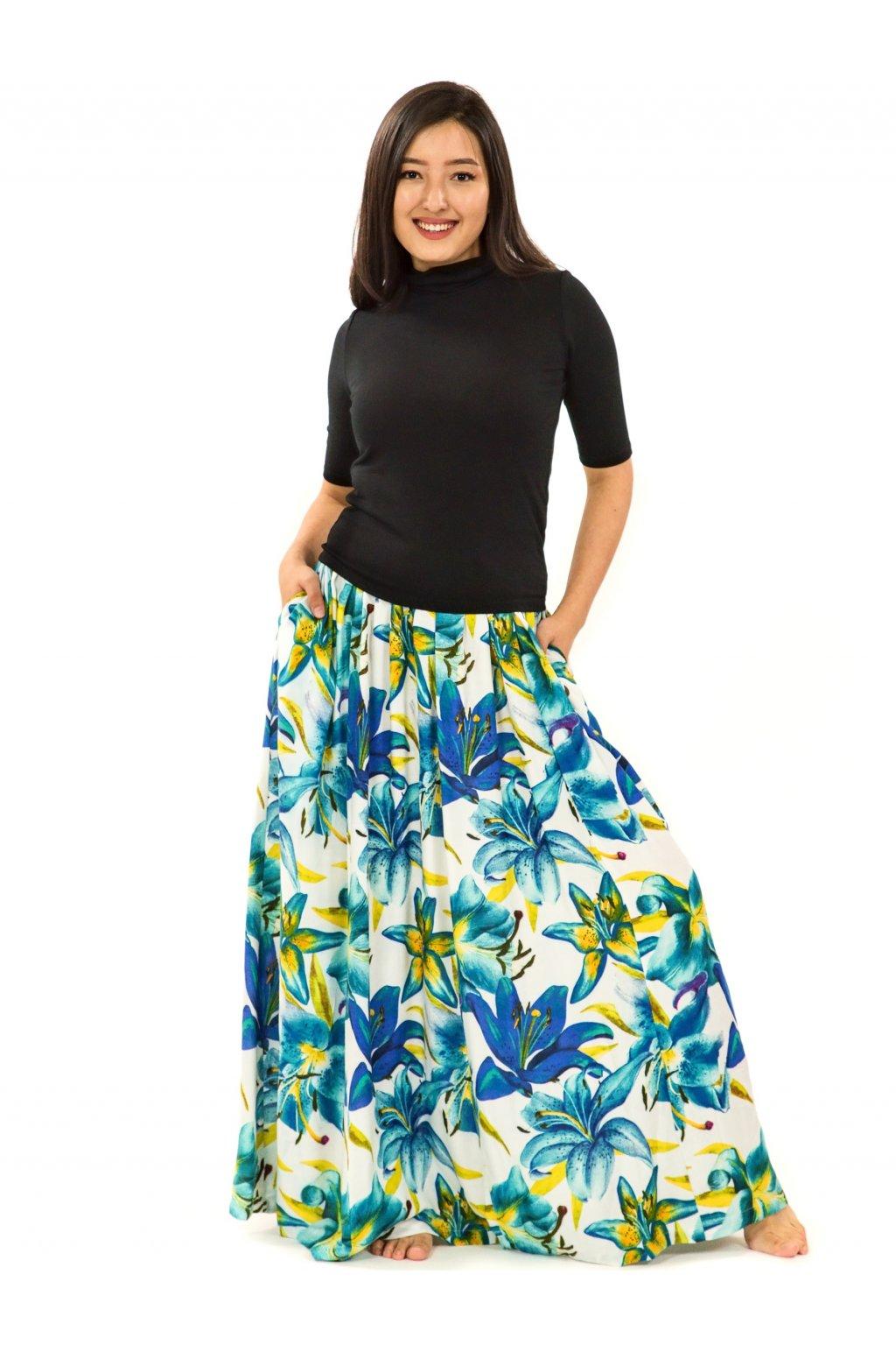 Maxi sukně Lilie s kapsami -  bílá s tyrkysovou