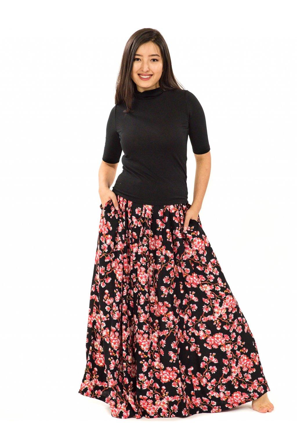 Maxi sukně Sakura s kapsami - černá s červenou