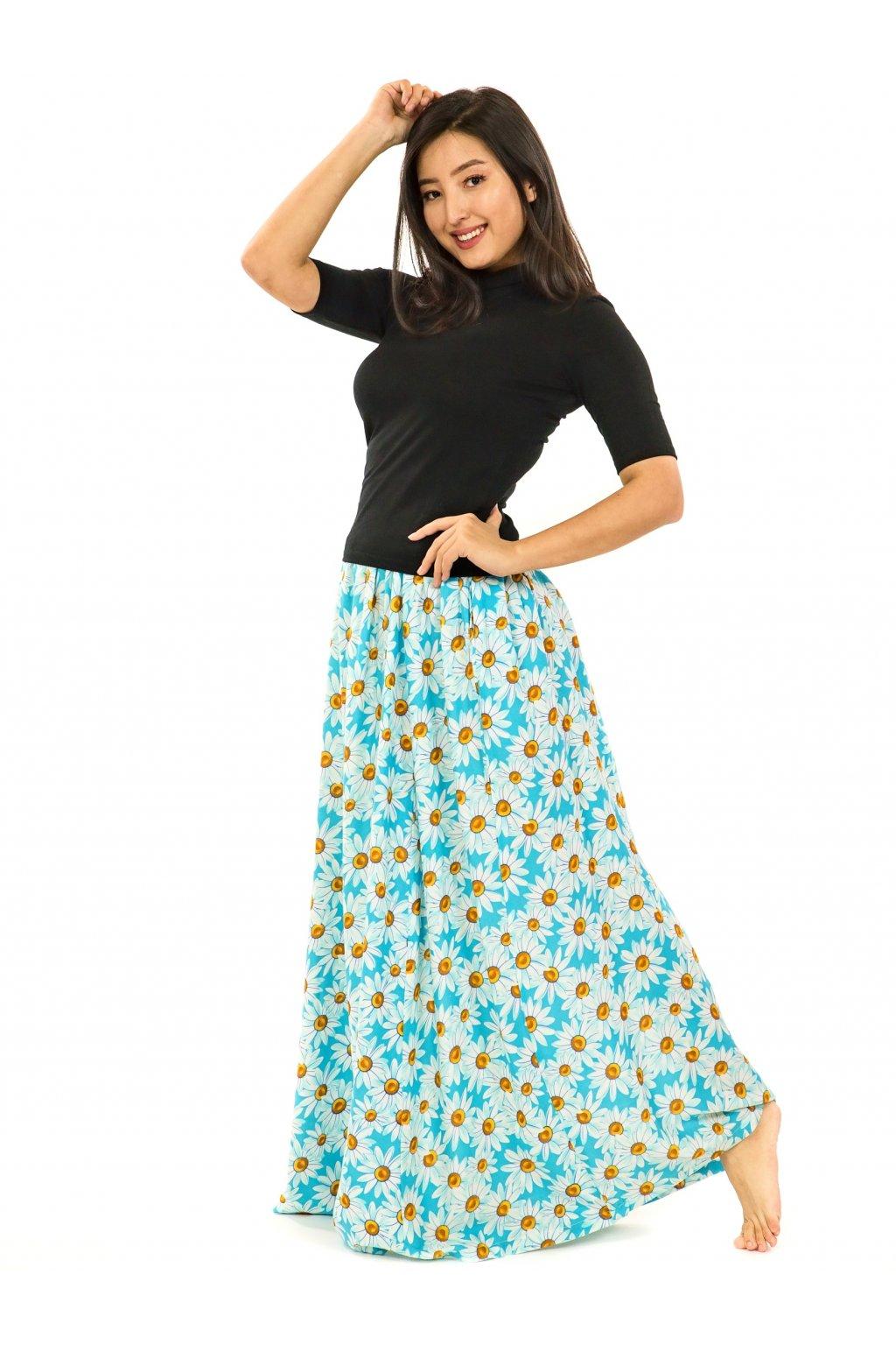 Maxi sukně Kopretina s kapsami - tyrkysová