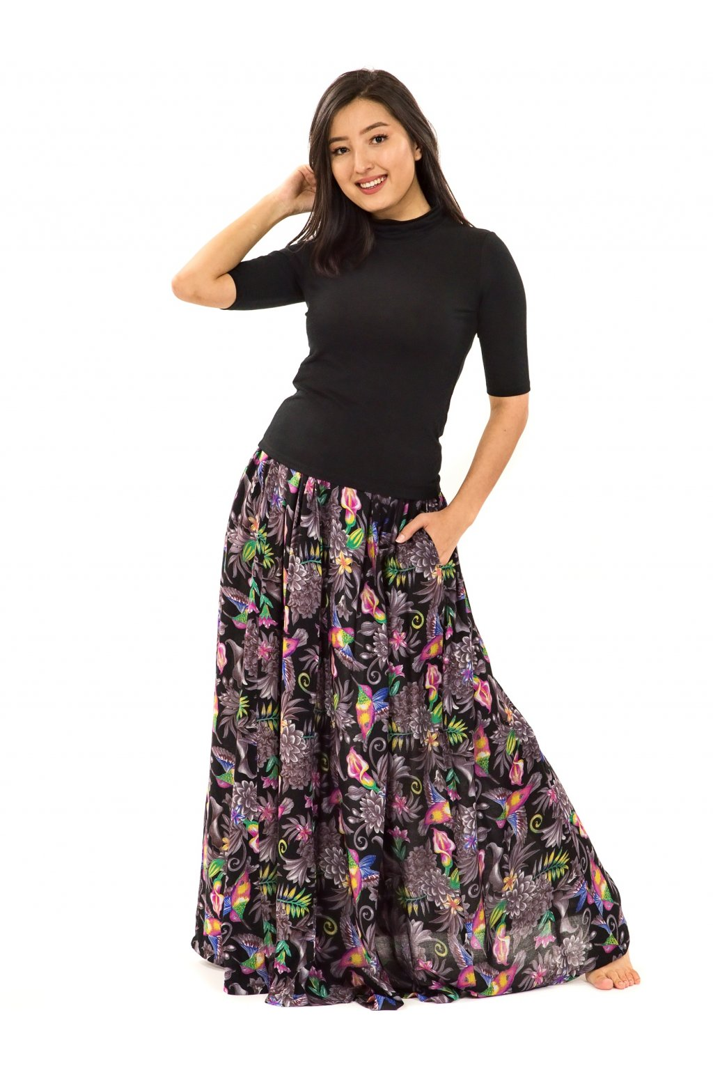 Maxi sukně Tahanea s kapsami - černá