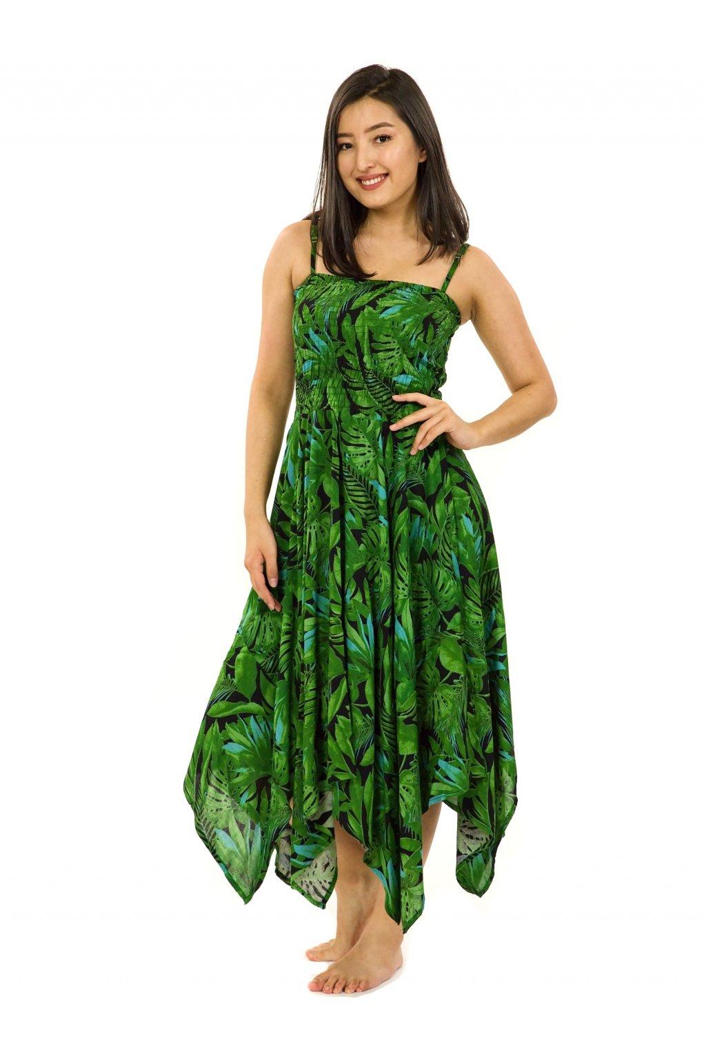 Šaty-sukně 2v1 Dawa Listy - černá se zelenou