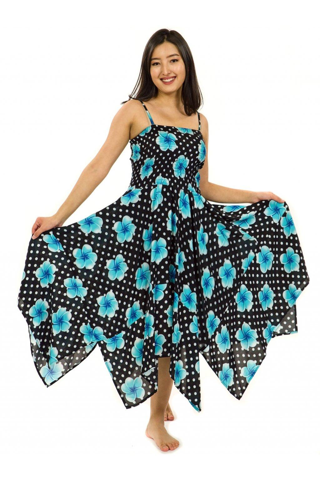 Šaty-sukně 2v1 Dawa Plumeria - černá s tyrkysovou