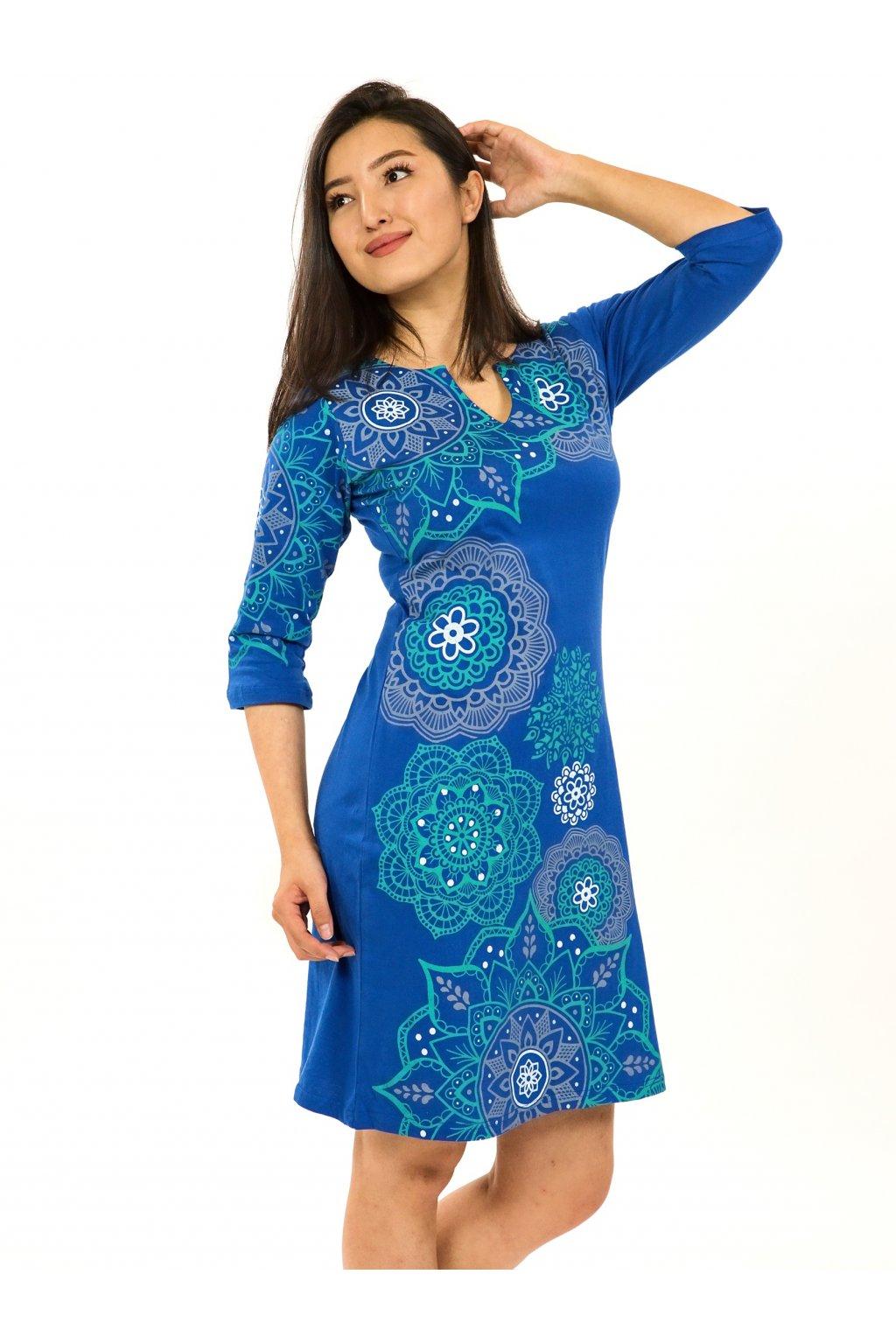 Šaty s 3/4 rukávem Ailana - modrá s tyrkysovou