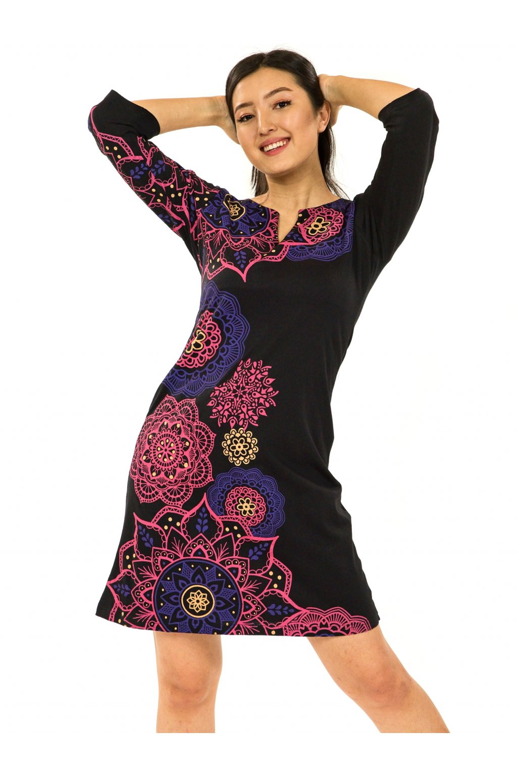 Šaty s 3/4 rukávem Ailana - černá s růžovou a fialovou