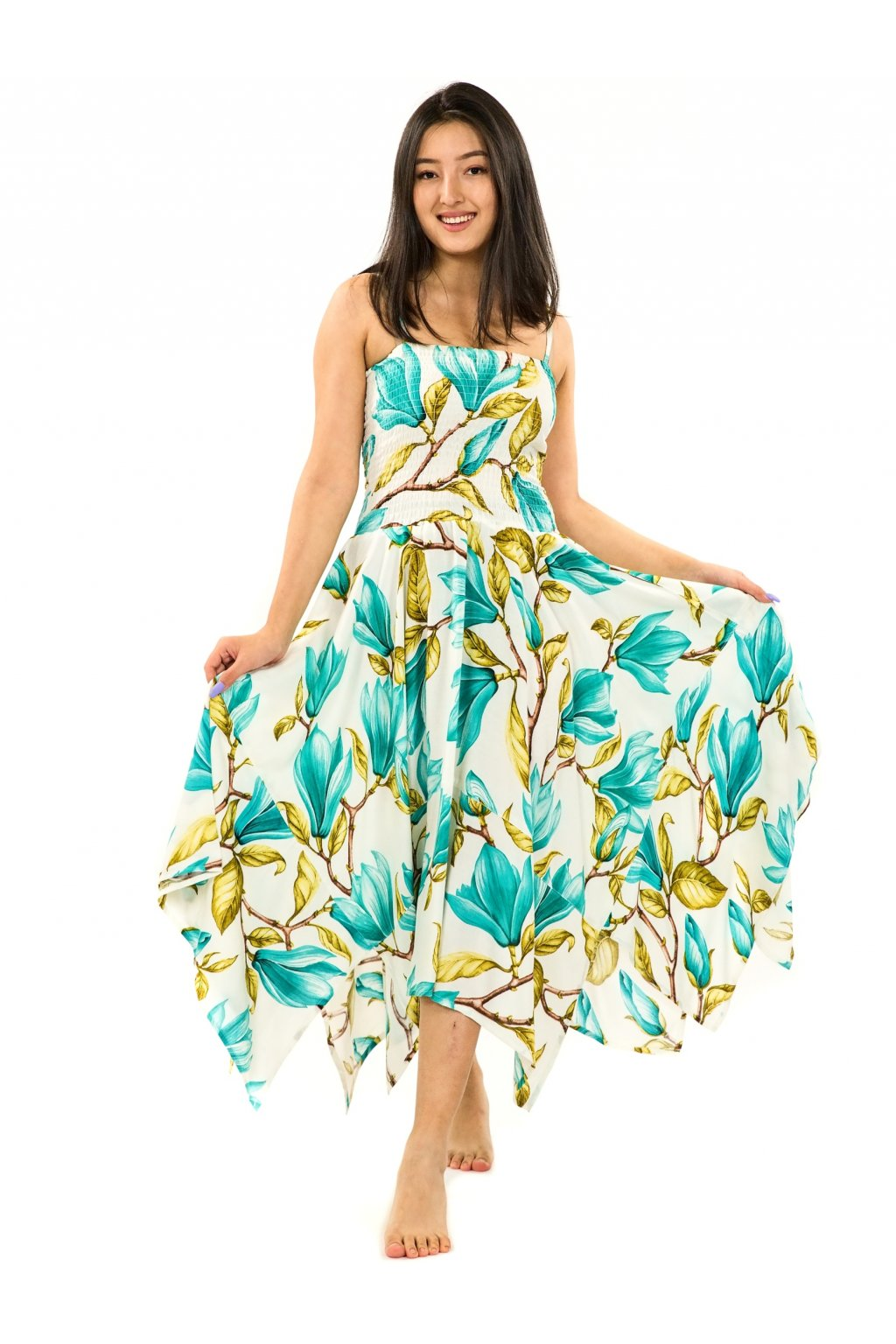 Šaty-sukně 2v1 Dawa Magnólie - bílá s tyrkysovou