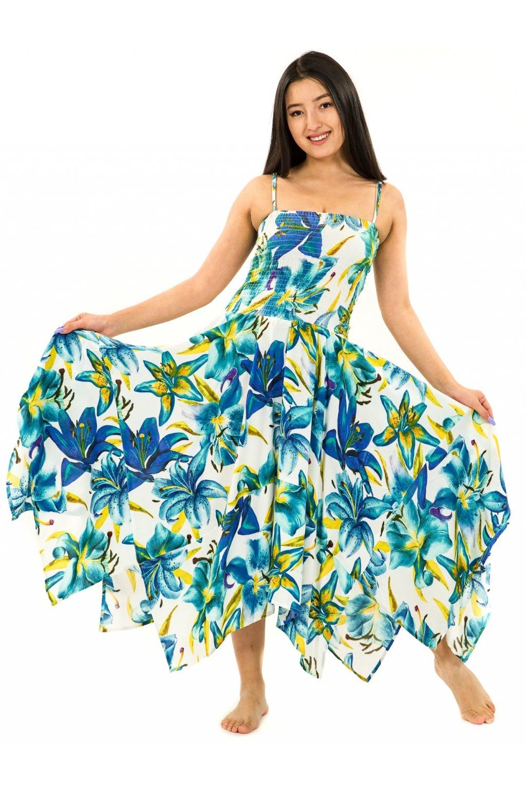 Šaty-sukně 2v1 Dawa Lilie - bílá s tyrkysovou