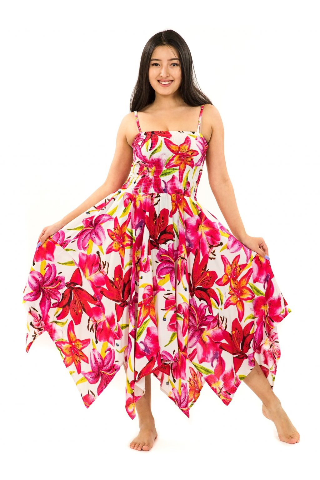 Šaty-sukně 2v1 Dawa Lilie - bílá s červenou