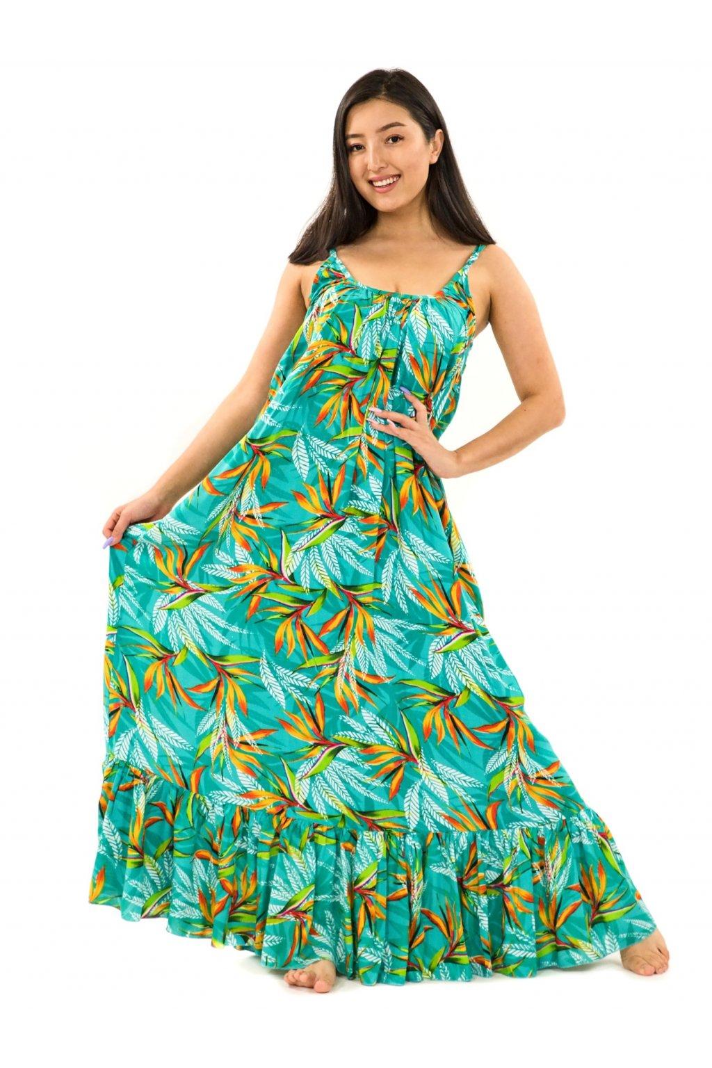 Vzdušné maxi šaty Strelície - tyrkysová