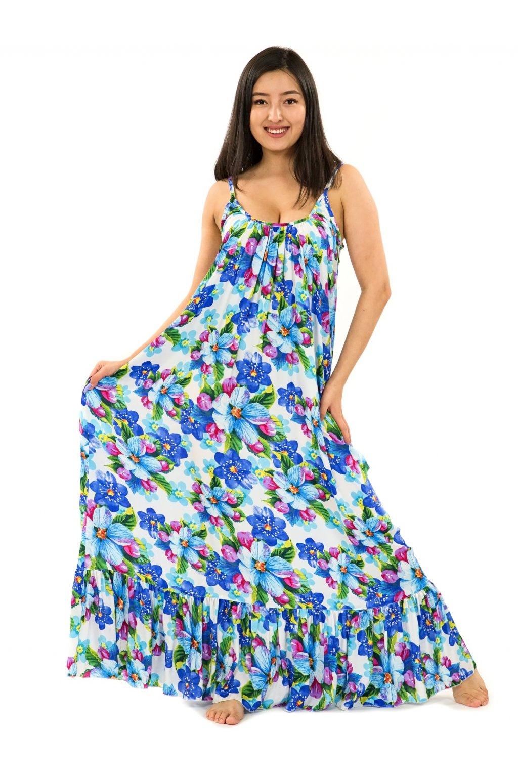 Vzdušné maxi šaty Puena - bílá s tyrkysovou